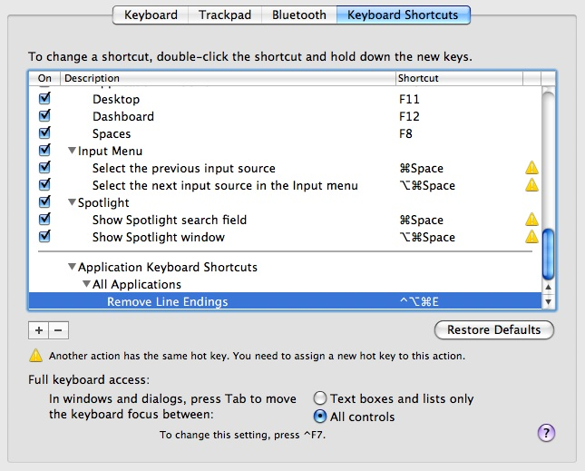 Sys Preferences Keyboard Mapping